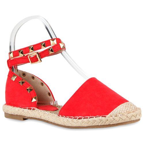 Damen Sandalen Espadrilles - Rot