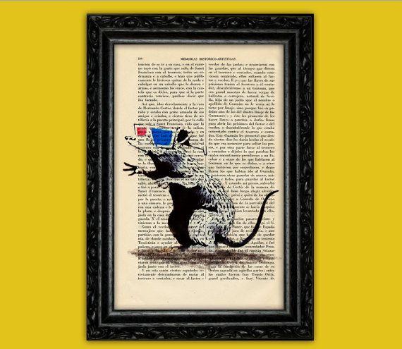 Banksy Rat With 3d glasses Art Print - Street Art Stencils Book Art Poster Dorm Room Print Gift Print Wall Decor Poster Dictionary Art Print