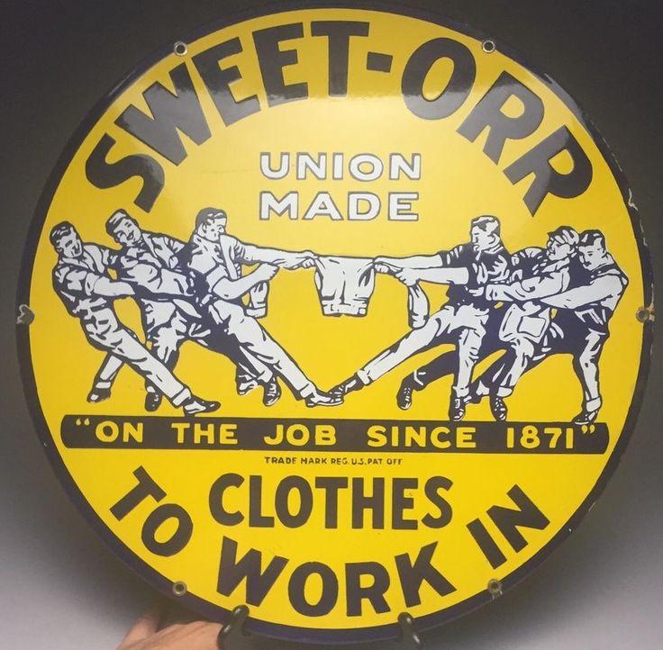 "Antique Sweet-Orr Work Clothes Porcelain Advertising Sign 18"" Nice!  | eBay"