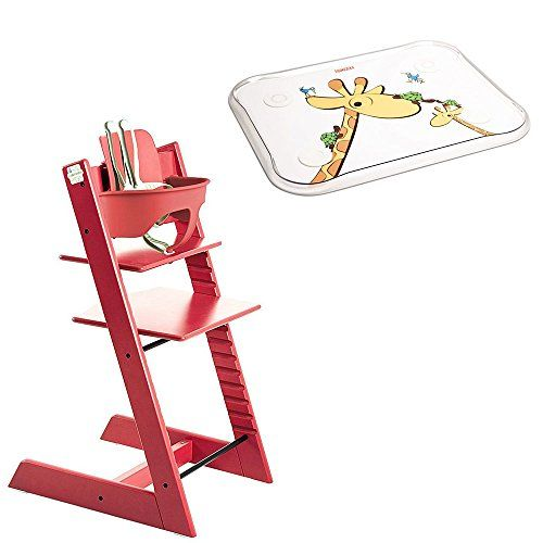 Stokke – Tripp Trapp – Red High Chair, Red Baby Set & Table Top