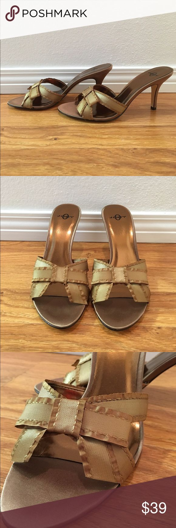 "Joey O Gold Peep Toe Heels Super sassy Joey O gold metallic peep toe slip on heels. Cute front bow detail. 3.5"" heel. ⚡️NO TRADES PLEASE⚡️ Joey O Shoes Heels"