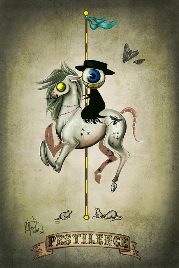 Pestilence 4x6 digital art lustre print Four Horsemen Creepy Halloween art, via Etsy.