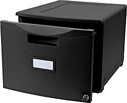 Storex Single Drawer Mini File Cabinet with Lock, 18.25 x 14.75 x 12.75 Inches, Black (61265B01C)
