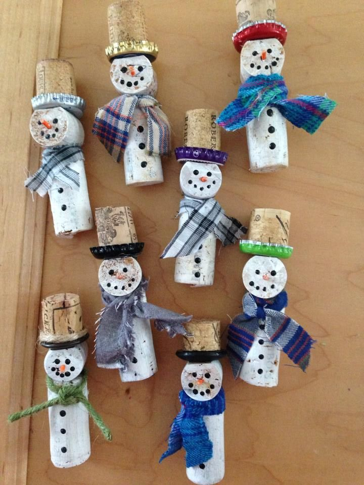 Wine Cork snowman ornaments by Joanne Rill