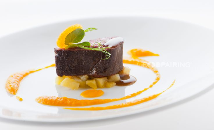 """Venison with gingerbread demi-glace, apples and pumpkin"" #foodpairing"