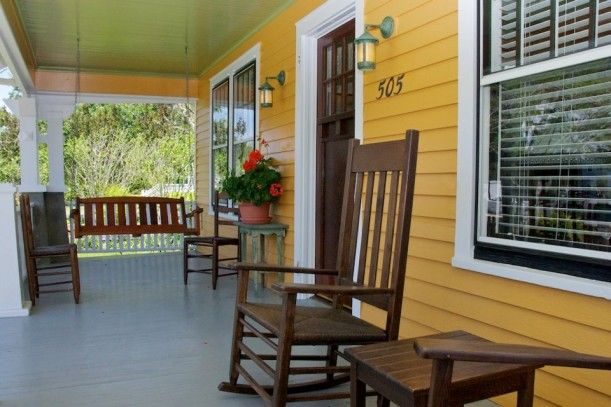 A front porch on a Sears kit house bungalow in NC.