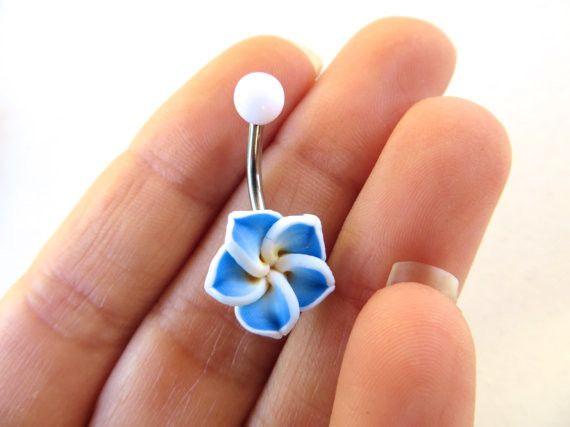Blue Hawaiian Flower Plumeria Belly Button Ring
