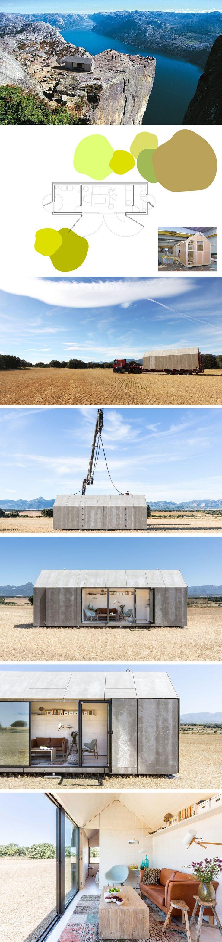 Een ontwerp van het Spaans architectenbureau, Ábaton. Het huis van 27m2 wordt in 8 weken gebouwd, vervoerd en met een hijskraan neergezet op de plek van bestemming. Het buitenblad is gemaakt van grijze cement houtvezelplaten Binnen is het afgewerkt met witgeschilderd lokaal naaldhout [10 cm isolatie]. De grote raampartij  kunnen worden afgesloten  De materialen zorgen voor een stoer en industrieel uiterlijk. Het zet ons in ieder geval weer aan het dromen over een zelf te bouwen huis.