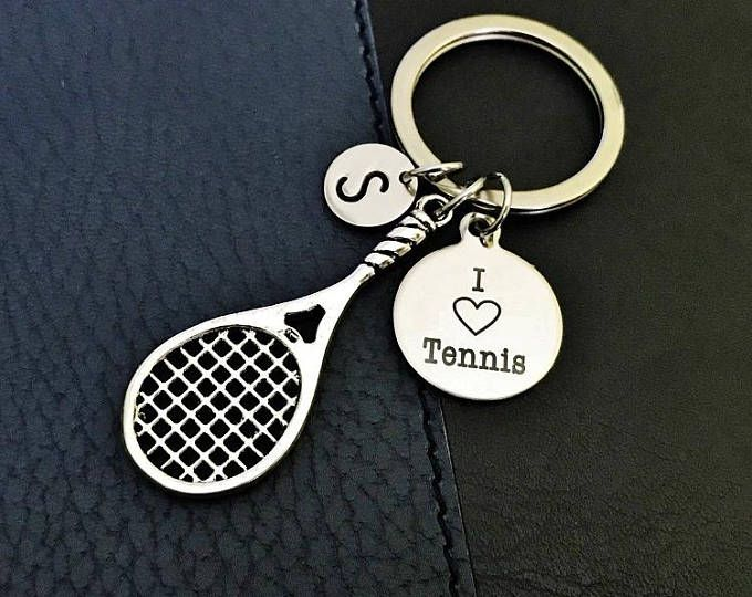 Tennis Lover Gift Tennis Racquet Keychain Gift For Tennis Player I Love Tennis Keychain Tennis Keychain Tennis Jewelry Initial Charm