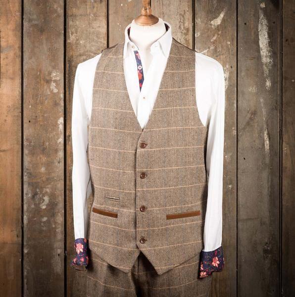 Marc Darcy DX7 Tweed Herringbone Check Suit Waistcoat - Tan - Master Debonair