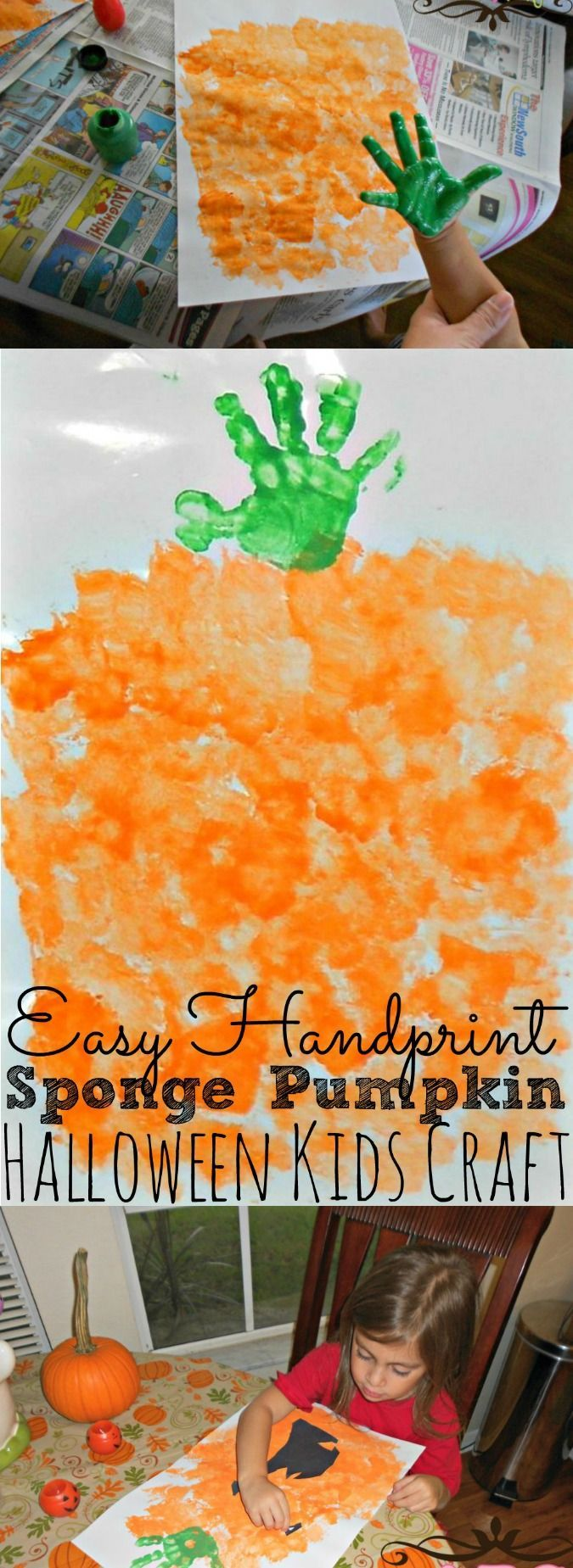 Easy Handprint Sponge Pumpkin Kids Craft - simplytodaylife.com