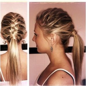 If you're a fan of the French braid, but feel the traditional style is a little too, well, traditional for you, here's a new twist! French braid your hair from the top as you would in a typical braid, but pull it into a ponytail once you reach the top of your neck. This style takes less time than a French Braid, but still lends the same feel of structure and elegance.