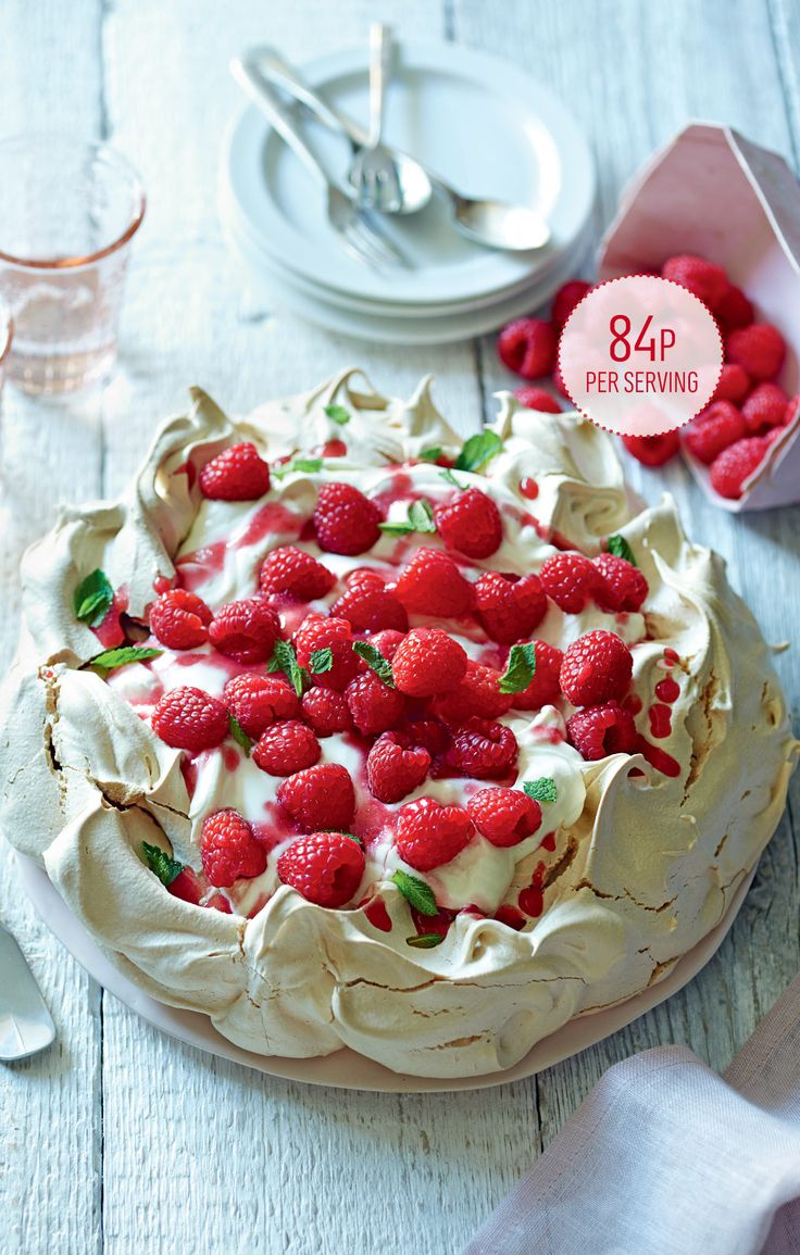 Raspberry pavlova. This show-stopping dessert is crisp on the outside, with a gooey centre. Save time by making the meringue up to two days earlier and store in an airtight container.