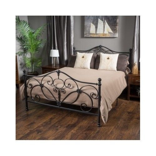 metal bed frame queen size black headboard footboard antique victorian elegant