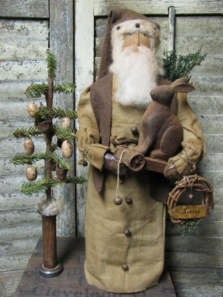 Olde Spring Santa~ Available Sunday March 10th~6 pm EST. Direct from Primitive Folk Artist Sue Corlett  http://1897houseprimitives.blogspot.com/