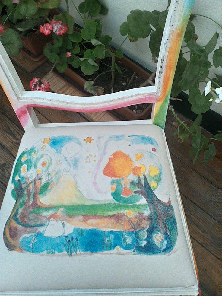 assento de cadeira em tecido estampado