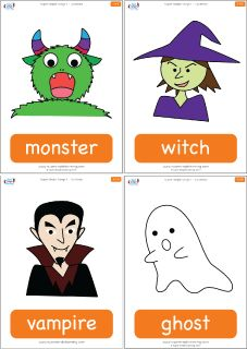 Halloween flashcards for the Super Simple Learning song Go Away! Go Away! These flashcards are great to teach the vocabulary in one of our most popular songs. Includes cards for the 1st and 2nd edition song versions.  Contains 6 flashcards: monster, witch, vampire, ghost, Go away!, cat.