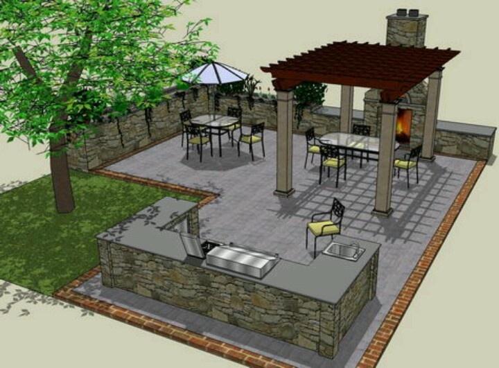 Outdoor kitchen patio plan