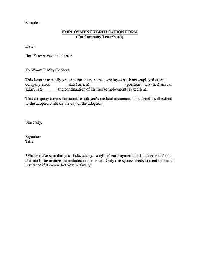 Letter Of Employment Verification. Employment Verification Letter
