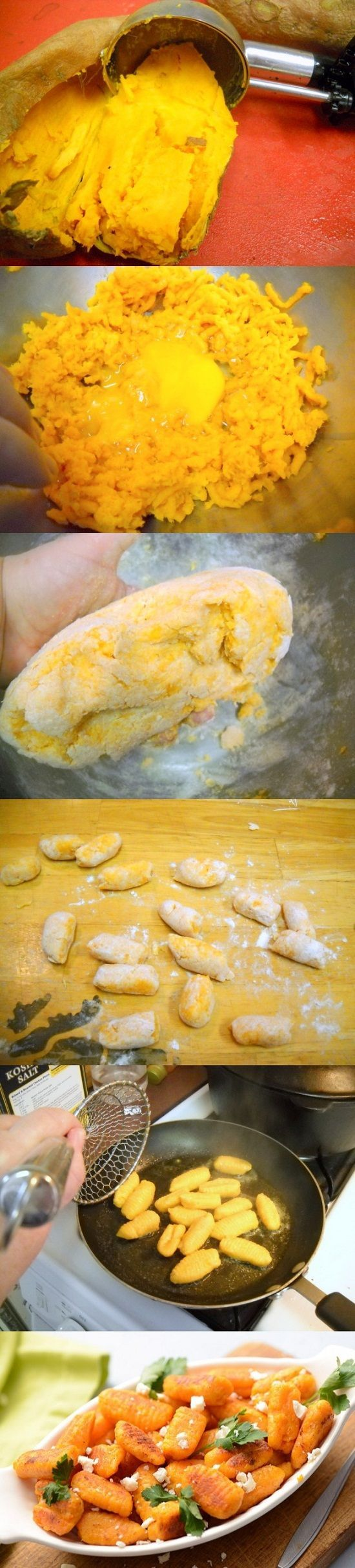 Sweet Potato Gnocchi Recipe Ingredients: 2 medium sweet potatoes, baked 1 large egg 1/2 cup freshly grated Parmesan cheese 3/4 cup King Arthur Unbleached All-Purpose Flour additional flour for roll…