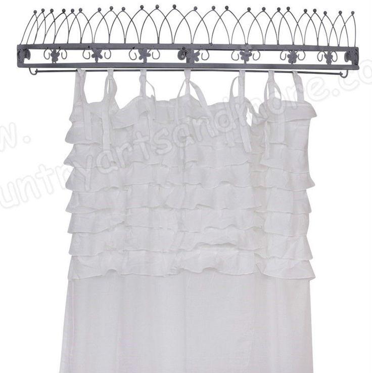CHIC ANTIQUE, Gardine, Vorhang mit Volant, Rüschen, Weiß, 100 % BW, 240 x 110 cm