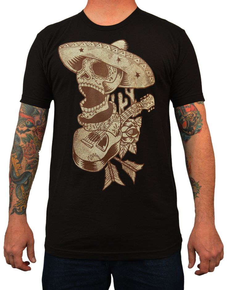 Men's Mariachi by Artist Adi Day of the Dead Skeleton Tattoo T Shirt