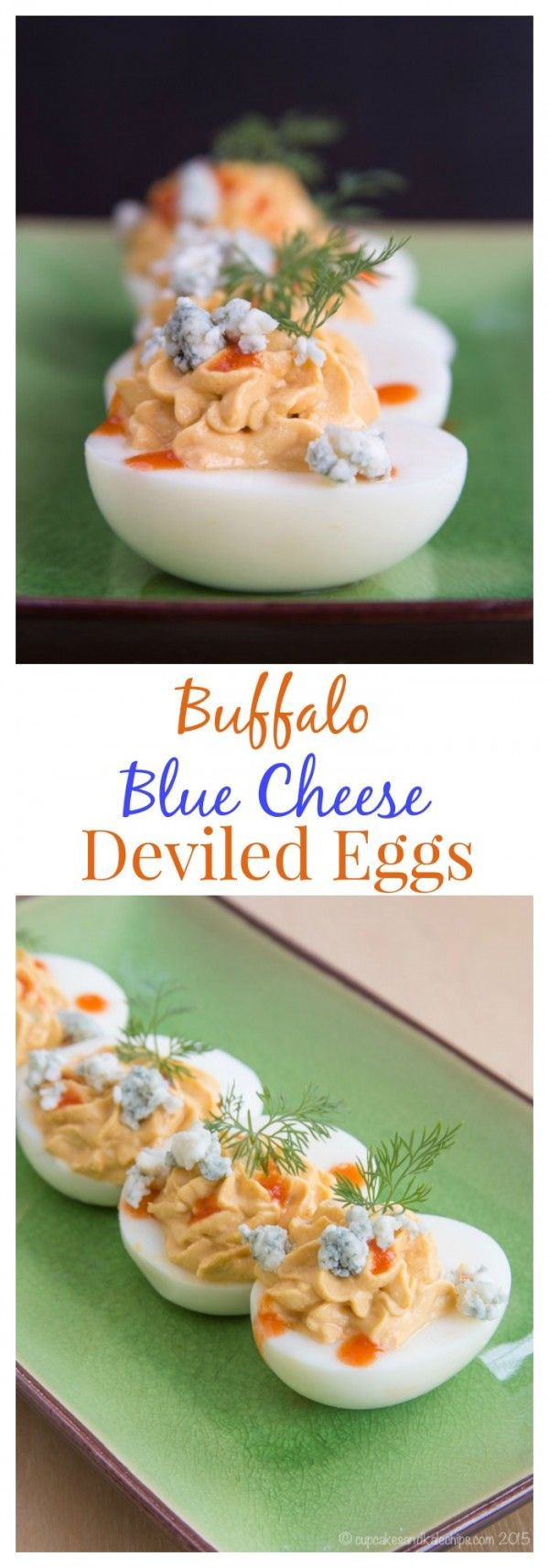Buffalo Blue Cheese Deviled Eggs are a spicy twist on the classic protein-packed appetizer or snack, lighted up with Greek yogurt   cupcakesandkalechips.com   gluten free and vegetarian recipe