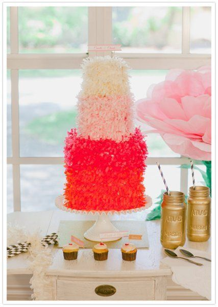 Modern Shabby Chic Pink Round Wedding Cakes Photos & Pictures - WeddingWire.com