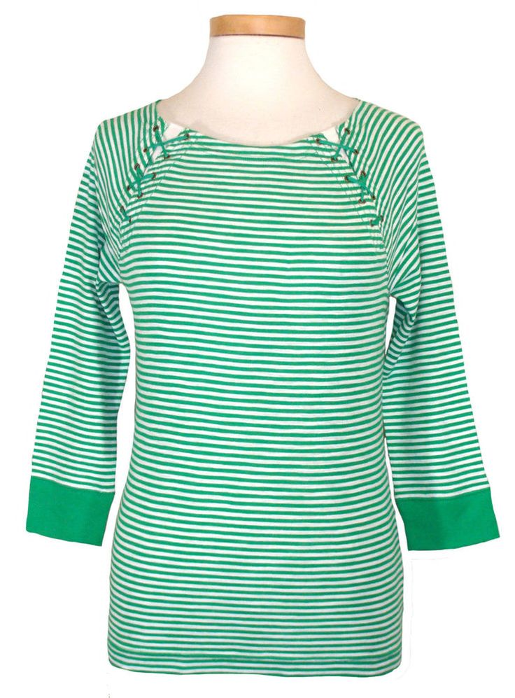 Ralph Lauren Womens Shirt Knit Top Lace Up Raglan Stripes Green White Sz PM NEW #LaurenRalphLauren #KnitTop #Casual