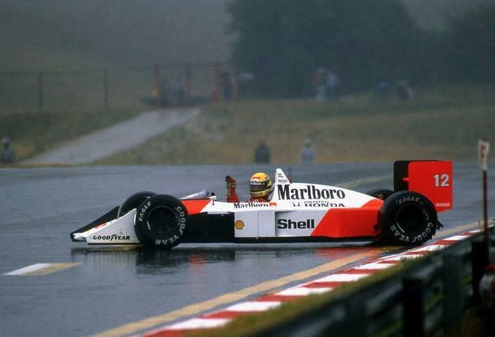 "Ayrton Senna (Honda Marlboro McLaren) at the 1988 Hungarian Grand Prix at Hungaroring """