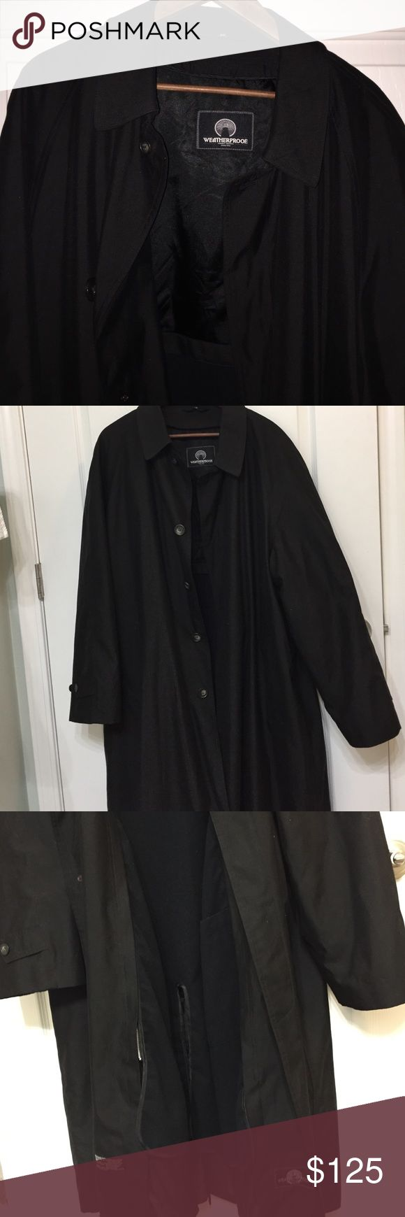 Men's Weatherproof Trench/Rain Coat Microfiber shell with water repellant lining. Liner is removable. Dry clean only. Used a few times but in EXCELLENT condition. No flaws. This Trench is stunning! Waterproof Jackets & Coats Trench Coats
