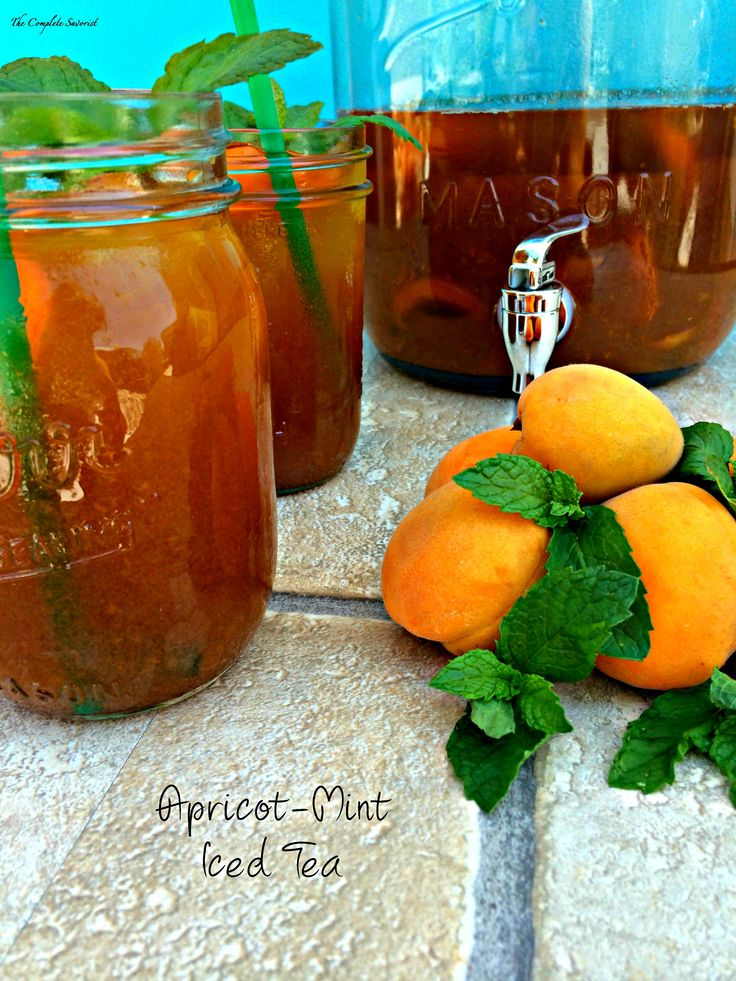 Apricot Mint Iced Tea ~ Fresh brewed black tea steeped with just ...