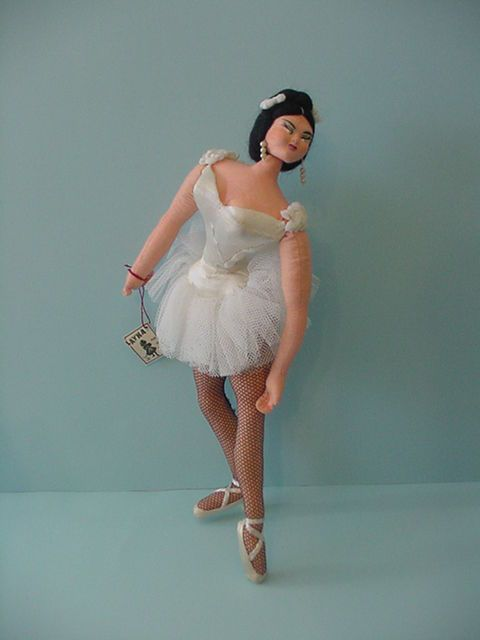 "SOLD: 12"" vintage Layna Spain Klumpe Roldan type Original cloth Ballerina Doll w tag #Layna"