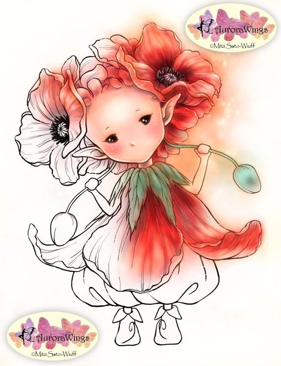 PNG Digital Stamp – Poppy Sprite – Remembrance Day – Whimsical Flower Fairy – Fantasy Line Art for Cards & Crafts by Mitzi Sato-Wiuff – Renée Argaet