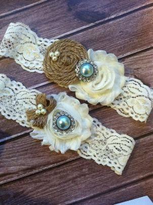 burlap and lace bridal garter, or cute bridesmaid/flower girl headbands