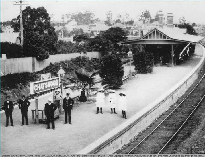 Chatswood Railway Station in the Upper North Shore region of Sydney in 1916.