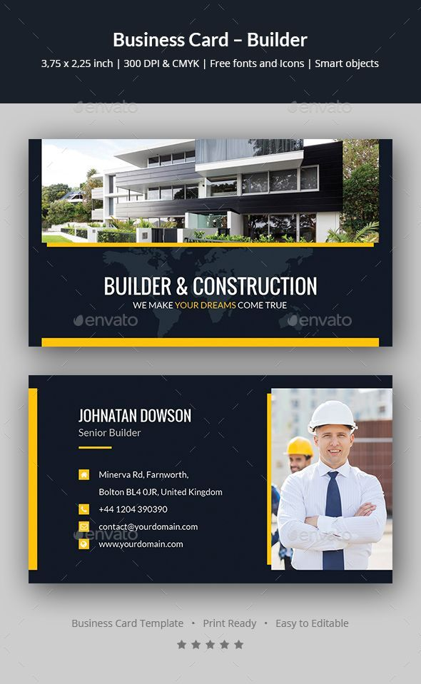 Builder Business Card Template Psd Professionalbusinesscards Examples Of Business Cards Construction Business Cards Business Card Template Psd