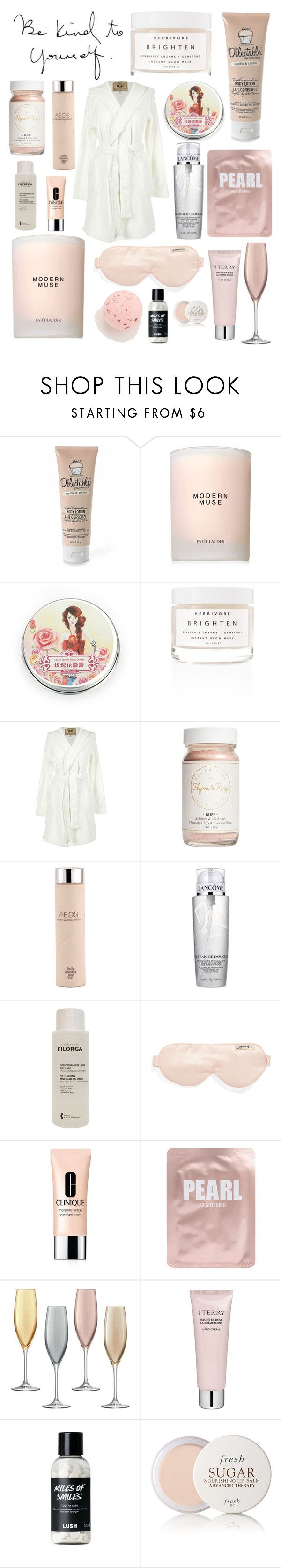 """Treat Yourself"" by sopranochg ❤ liked on Polyvore featuring beauty, Be Delectable, Estée Lauder, Herbivore, UGG Australia, Flynn&King, AEOS, Lancôme, Filorga and Branché"