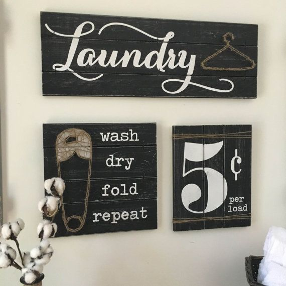 LAUNDRY SIGN SET Laundry Room Decor Laundry by ElevenOwlsStudio