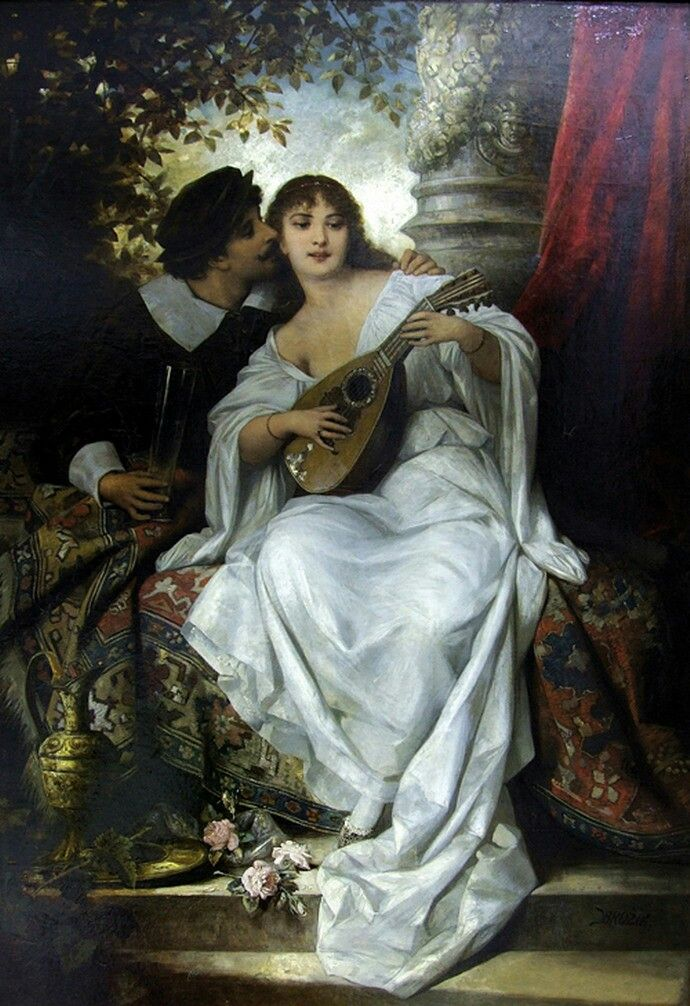 English : I love You ,  1899 Painting by Vaclav Brozik,  Czech, 1851 - 1901