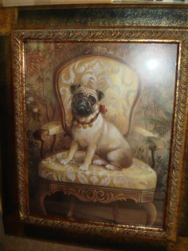 """Vintage 23"""" by 27"""" Reproduction Victorian Framed Chinese Pug Print w Glass.  Elly gave me this!"""