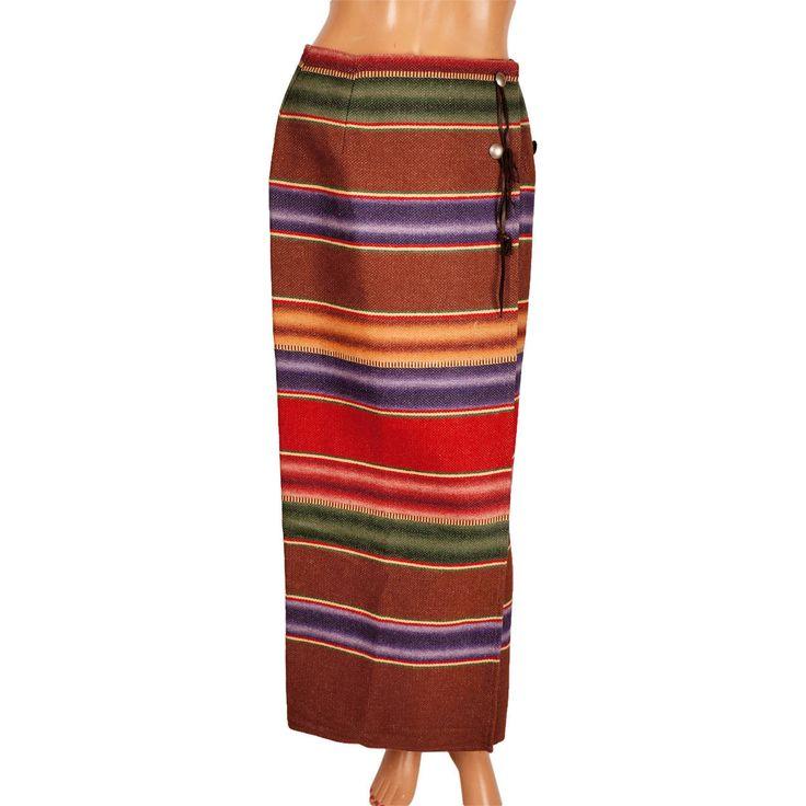 Vintage Ralph Lauren Country Label Wraparound Maxi Skirt Southwestern Blanket Size M 8