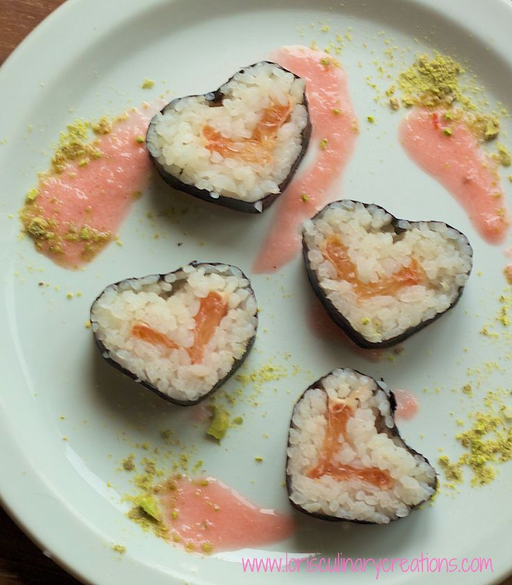'Goddess of Love' Spicy Dessert Sushi on MyRecipeMagic.com. Sweet, spicy and tart, this dessert sushi was something else. And the heart shape was cute too. Top it with the grapefruit wasabi sauce for a flavor explosion. #sushi #recipe
