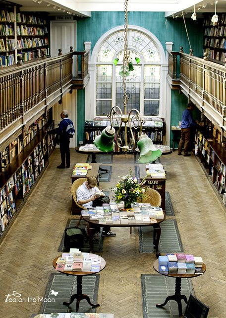 Daunt Books, Marylebone High Street, London, UK. The shop is housed in a former Edwardian bookstore. The older section of the Marlyebone shop was completed in 1912 and it is alleged to be the first custom build bookshop in the world.