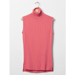 Sleeveless ribbed turtleneck