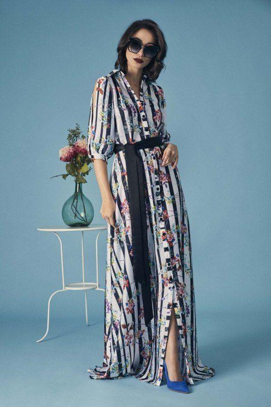 a91705d30 Vestido camisero largo con estampado de rayas blanco y negro con  flores-ELITE