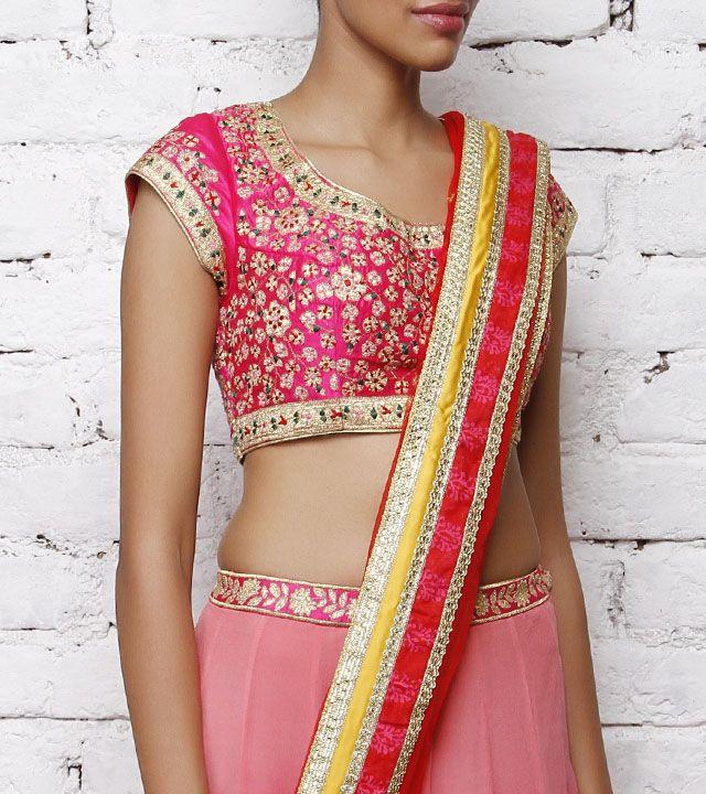 Syam Narayan Prasad Pink Silk Blouse with Applique Work