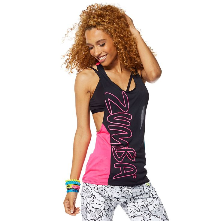 TIED UP TANK - GUMBALL --------- Unleash your best moves in the Tied Up Tank! With a pre-customized self fabric tie in the back and extremely dropped armholes, YOU'LL be the talk of the dance floor. Zumba Tank Top.