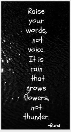 "Goes with an earlier post about not yelling. I haven't been perfect but I have improved. ""Raise your words, not your voice. It is rain that grows flowers, not thunder."" —Rumi"
