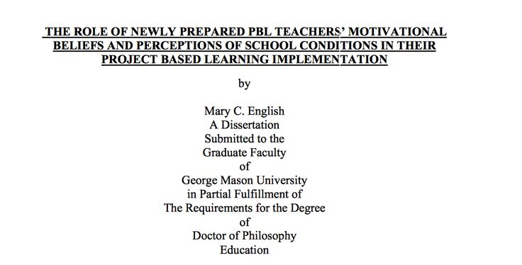 The role of newly prepared PBL teachers' motivational beliefs and perceptions of school conditions in their project based learning implementation - A doctoral dissertation